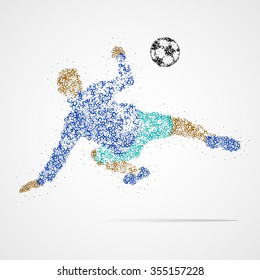 Football player with the ball circles. Vector illustration.