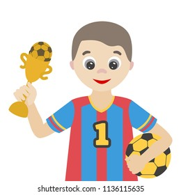Football player with a ball and a reward. A cheerful cartoon character for the profession and sports theme