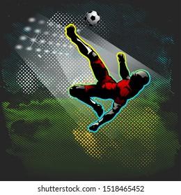 Football player bicycle kick sport vector illustration