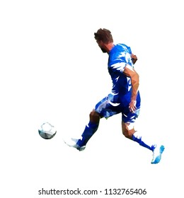 Football player in blue jersey passing ball, abstract low poly vector drawing. Soccer player kicking ball. Isolated geometric colorful footballer illustration, rear view