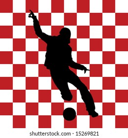 football player with croatian flag in background