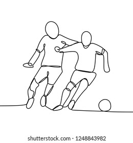 Football player fighting with opponent dribbling a ball one continuous line drawing vector illustration isolated on white background. Minimalist design concept.