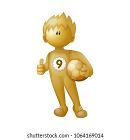 A football player is holds the ball under the arm and shows a sign like. A stylized three D person. A steel gold man. Vector illustration. Character isolated