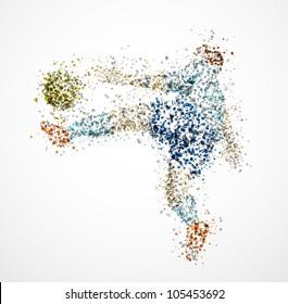 Football player, kick a ball. Eps 10