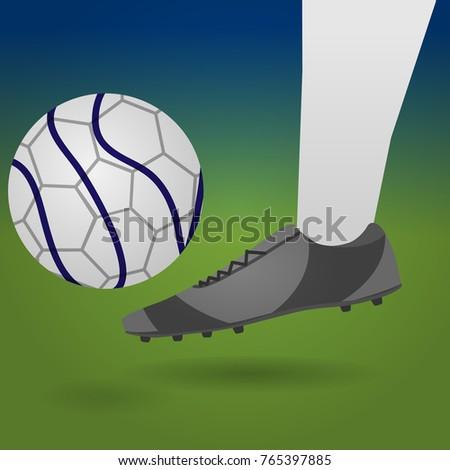 9b5751aad Football player kick ball. Soccer shoe. Close-up. Vector illustration.