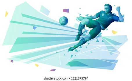 Football player kicking the ball in the air