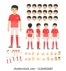 football player man character set. Full length. Different view, emotion, gesture.