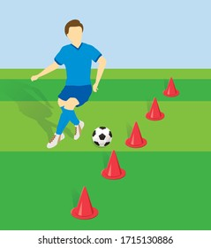 Football player practicing dribbling with side by side cones