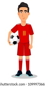 Football player in red uniform. Handsome cartoon character holding soccer ball in hand. Vector illustration on white background.