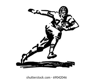 Football Player Running With Ball - Retro Clipart Illustration
