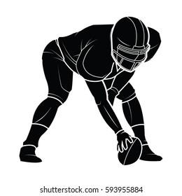 football player silhouette. American football Vector illustration.