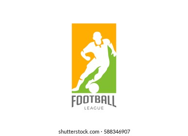 Football player silhouette Logo design vector template. Soccer Sport icon Negative space style