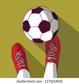 Football player and soccer ball top view