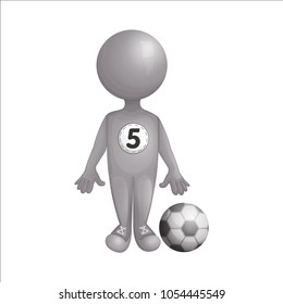 A football player is standing next to the ball. A imitation three d person without a face. A steel silver man. Vector illustration. Character isolated