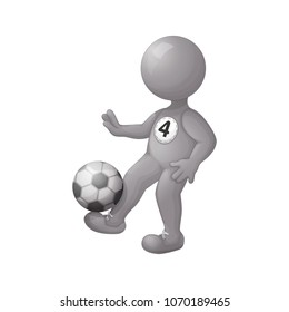 Football player stuffing the ball on his leg. A imitation three d person without face. A steel silver man. Vector illustration. Character isolated