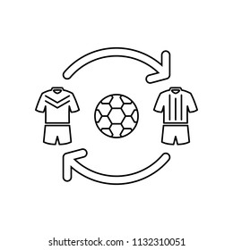 Football player transfer icon.