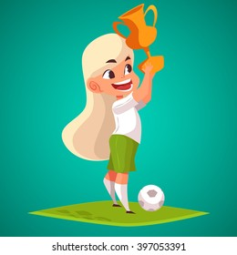 Football player with trophy. Cute Cartoon character Girl with winner cup vector illustration