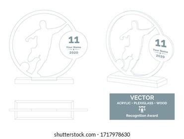 Football player trophy vector template, Soccer player trophy template, Football championship recognition award, Best player award