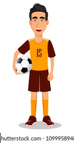 Football player in yellow and brown uniform. Handsome cartoon character holding soccer ball in hand. Vector illustration on white background.