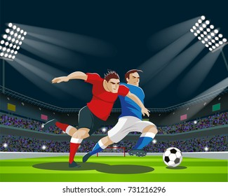 Football players are fighting for the ball in stadium. Light, stands, fans. Vector Illustration