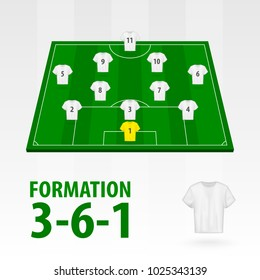 Football players lineups, formation 3-6-1. Soccer half stadium.
