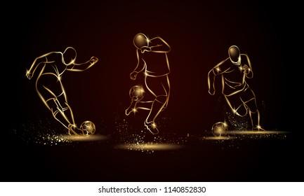 Football players set. Golden linear soccer player illustration for sport banner, background and flyer.