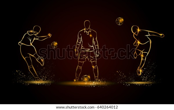 Football players set. Golden linear soccer player illustration for sport banner, background and flyer.