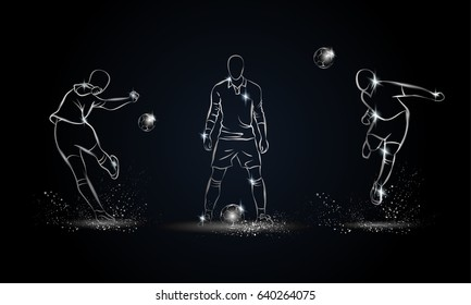 Football players set. Metallic linear soccer player illustration for sport banner, background and flyer.
