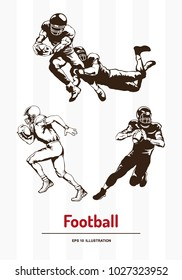 Football players silhouettes set on abstract white background. Template for your design works. Vector illustration.
