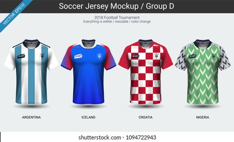 Football players uniform, National team soccer jersey 2018 group D, For your presentation the match results of world championship cup in Russian, Everything is edible, resizable and color change.