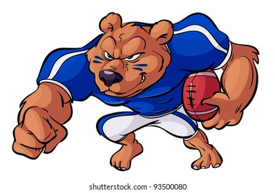 football playing bear in action