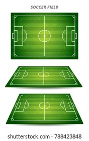 Football playing field or soccer field top view  and  perspective elements with green grass pattern for background. Vector stock illustration.