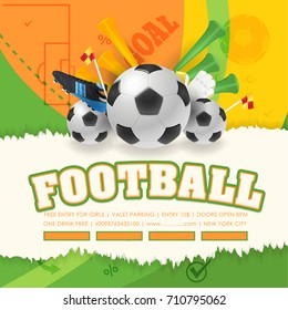 Football Poster Event Postcard Design and Soccer Ad Web Banner, Card Template