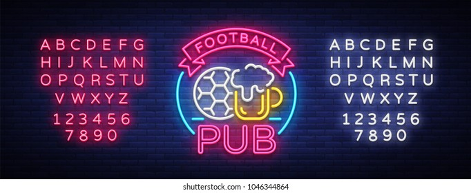 Football Pub neon sign. Design Pattern Sport Bar Logo in Neon Style, Light Banner, Bright Night Bar Advertising, Design Element. Live football. Vector Illustration. Editing text neon sign