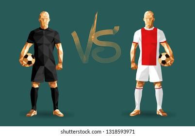 Football, Real Madrid vs. Ajax players holding vintage footballs, representing two opposing teams, vector illustration