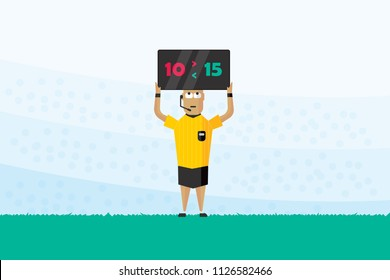 Football referee hole substitution board. The referee shows the number display. Flat Vector illustration.
