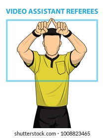 Football referee shows video assistant referees action. Vector illustration.