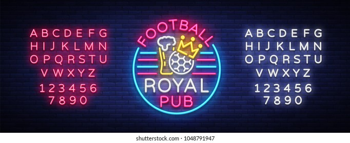Football royal pub neon sign. Design Pattern Sport Bar Logo in Neon Style, Light Banner, Bright Night Bar Advertising, Design Element. Live football. Vector Illustration. Editing text neon sign