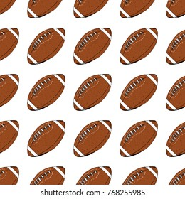 Football, rugby ball seamless pattern hand drawn sketch, vector illustration.