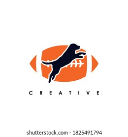 Football rugby Dog team logo design. Scalable and editable vector.