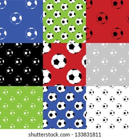 Football seamless patterns Seamless football /soccer patterns in 9 different color combinations.