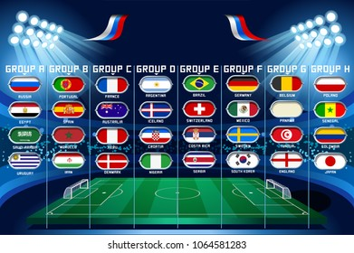 Football set of world championship groups. Russia football 2018 world cup tournament competition. Vector Illustration infographic.