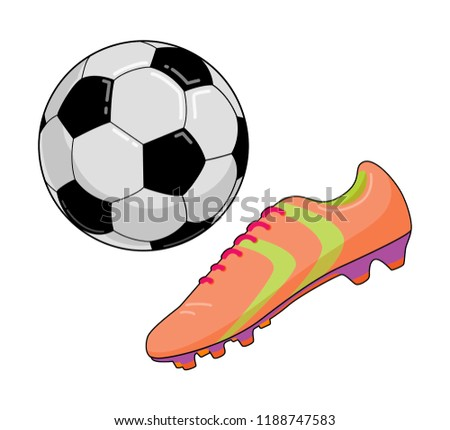 0ae5d5d2e Football Shoes Soccer Boots Ball Stock Vector (Royalty Free ...