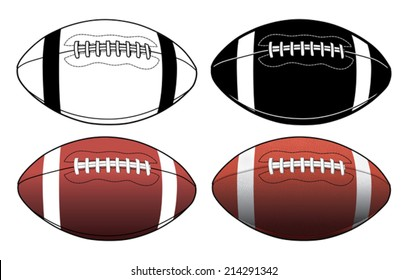 Football Simple to Complex is an illustration of four footballs ranging from a simple black and white graphic to a complex color illustration.