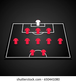 Football Soccer 3D Starting Line Up On One Half Of Field 3