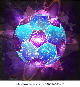 Football or Soccer abstract illuminated ball. Vector sport illustration of flying abstract Soccer Ball made of glowing particles. Abstract 3D neon Soccer ball sign with glowing wave