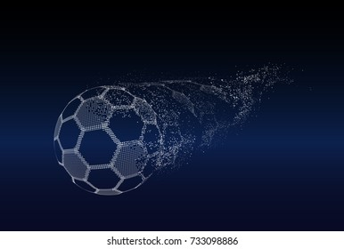 Football or Soccer abstract illuminated ball. Vector sport illustration of flying Soccer Ball made of glowing particles. Abstract 3D neon sport sign