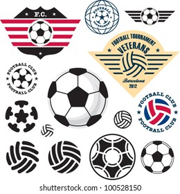 Football Soccer ball. Football Soccer Club emblem vector set.