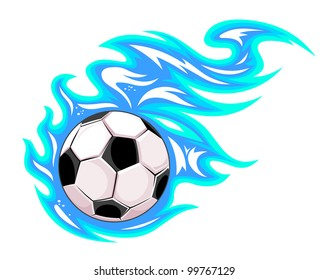 Football or soccer ball with flames. Jpeg version also available in gallery