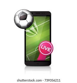 Football soccer ball flying from smartphone screen.
